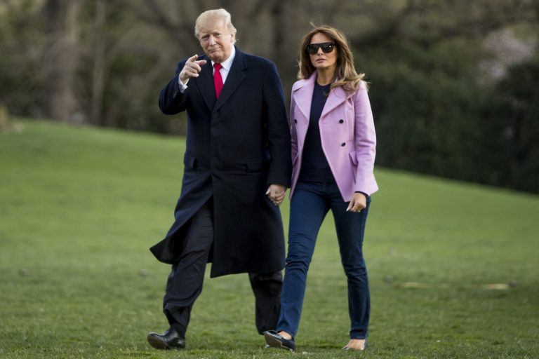 President Donald Trump and first lady Melania Trump walk along the South Lawn of the White House in Washington, Sunday, March 31, 2019, as they return from Trump's Mar-a-Lago estate in Palm Beach, Fla. (Andrew Harnik/AP Photo)