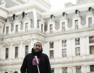 Recording artist Meek Mill speaks at a gathering to push for drastic changes to Pennsylvania's probation system, in Philadelphia, Tuesday, April 2, 2019. House Democratic Whip Jordan Harris on Tuesday announced he will soon introduce a bill designed to result in fewer people on parole and for shorter periods of time. (Matt Rourke/AP Photo)