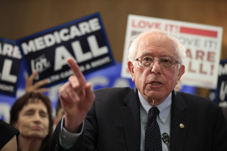 Sen. Bernie Sanders, I-Vt., introduces the Medicare for All Act of 2019, on Capitol Hill in Washington, Wednesday, April 10, 2019. (Manuel Balce Ceneta/AP Photo)