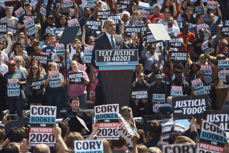 Democratic presidential candidate Sen. Cory Booker, D-N.J. talks to the crowd during a hometown kickoff for his national presidential campaign tour at Military Park in downtown Newark, Saturday, April 13, 2019. (Andres Kudacki/AP Photo)