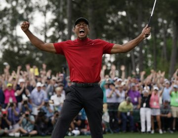 Tiger Woods reacts as he wins the Masters golf tournament Sunday, April 14, 2019, in Augusta, Ga. (David J. Phillip/AP Photo)