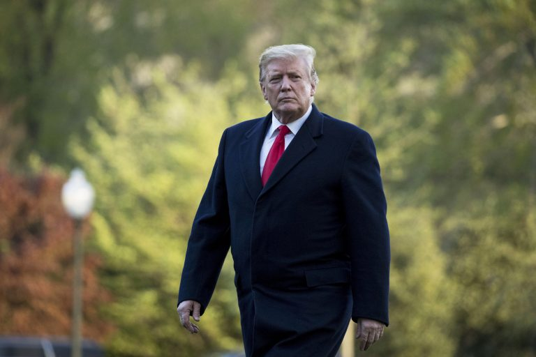 President Donald Trump walks on the South Lawn as he arrives at the White House in Washington.  Trump on Tuesday vetoed a resolution passed by Congress to end U.S. military assistance in Saudi Arabia's war in Yemen. (AP Photo/Andrew Harnik, File)