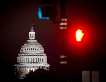 The Capitol is seen before sunrise in Washington, Thursday, April 18, 2019. (AP Photo/Cliff Owen)