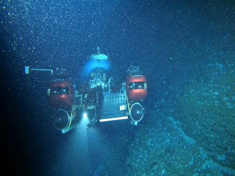 In this file image provided by Nekton on April 14, 2019, the submersible carrying Seychelles President Danny Faure is seen from a submarine belonging to Ocean Zephyr, during a descent into the Indian Ocean in the outer islands of Seychelles. The British-led Nekton scientific mission on Thursday, April 18, 2019 completed a seven-week expedition in the Indian Ocean aimed at documenting changes beneath the waves that could affect billions of people in the surrounding region over the coming decades. (Nekton via AP, File)