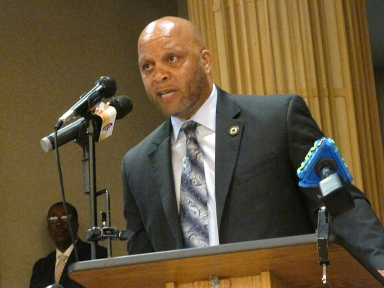 Democratic Atlantic City Mayor Frank Gilliam Jr. speaks at an event in Atlantic City N.J. on Tuesday April 23, 2019, at which state officials said New Jersey's takeover of Atlantic City will remain in place for the full five-year term envisioned by former Republican Gov. Chris Christie when it began in 2016. (Wayne Parry/AP Photo)