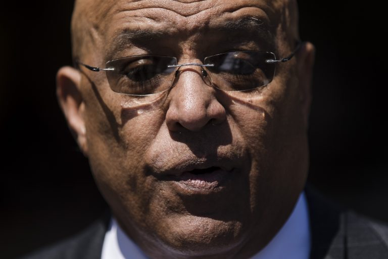Former Reading Mayor Vaughn Spencer speaks with members of the media as he departs from the federal courthouse in Philadelphia after being sentenced to eight years in prison for trading city contracts for campaign contributions on Wednesday, April 24, 2019. (Matt Rourke/AP Photo)