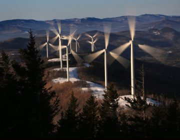 In this Tuesday, March 19, 2019 photo, the blades of wind turbines catch the breeze at the Saddleback Ridge wind farm in Carthage, Maine. (Robert F. Bukaty/AP Photo)