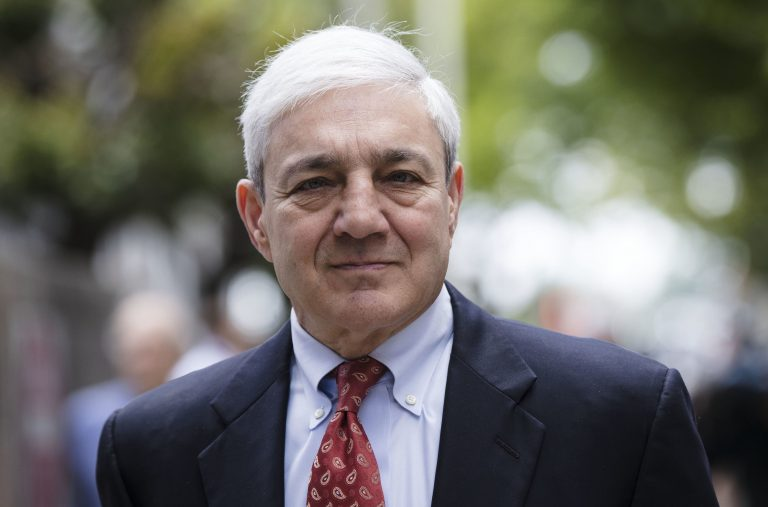 In this June 2, 2017, file photo, former Penn State President Graham Spanier departs after his sentencing hearing at the Dauphin County Courthouse in Harrisburg, Pa (AP Photo/Matt Rourke, File)