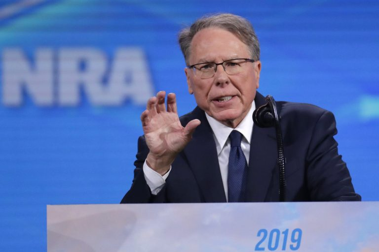 Nation Rifle Association Executive Vice President Wayne LaPierre speaks at the National Rifle Association Institute for Legislative Action Leadership Forum in Lucas Oil Stadium in Indianapolis, Friday, April 26, 2019. (Michael Conroy/AP Photo)