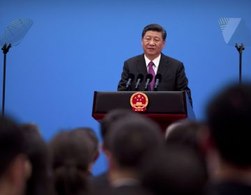 Chinese President Xi Jinping speaks during a press conference at the closing of the Belt and Road Forum at Yanqi Lake on the outskirts of Beijing, Saturday, April 27, 2019. (Mark Schiefelbein/AP Photo)
