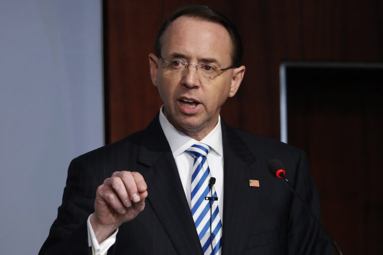 In this Feb. 25, 2019, file photo, Deputy Attorney General Rod Rosenstein speaks at a Center for Strategic and International Studies (CSIS) event on the rule of law in Washington. Rosenstein has submitted a letter of resignation to President Donald Trump. It's effective May 11. (Jacquelyn Martin/AP Photo)
