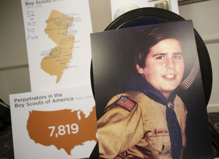A picture of Richard Halvorson as a boy scout in 1982, when he was 11-years-old, is displayed during a news conference in Newark, N.J., Tuesday, April 30, 2019. Halvorson is alleging sexual abuse in a lawsuit filed against the Boy Scouts of America. (Seth Wenig/AP Photo)