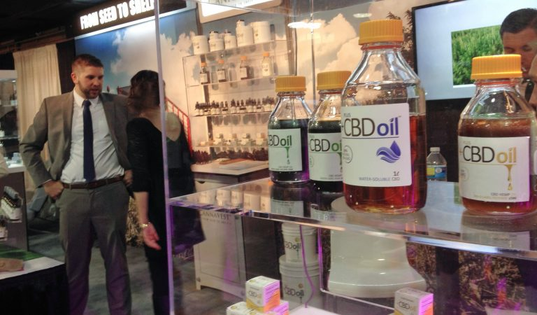 In this Wednesday, May 20, 2015, photo, oil containing CBD from agricultural hemp is displayed at the Marijuana Business Conference & Expo in Chicago. (Carla K. Johnson/AP Photo)