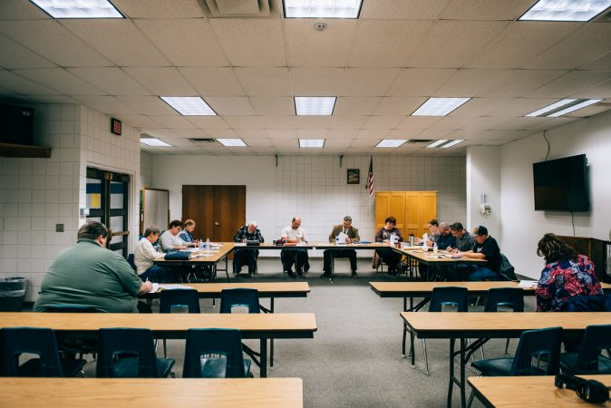 A sparsely attended meeting of the Turkeyfoot School Board in March 2019. (Dani Fresh/Keystone Crossroads)