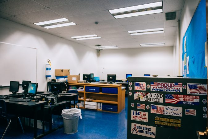 The computer lab at Turkeyfoot School displays patriotic stickers. (Dani Fresh/Keystone Crossroads)
