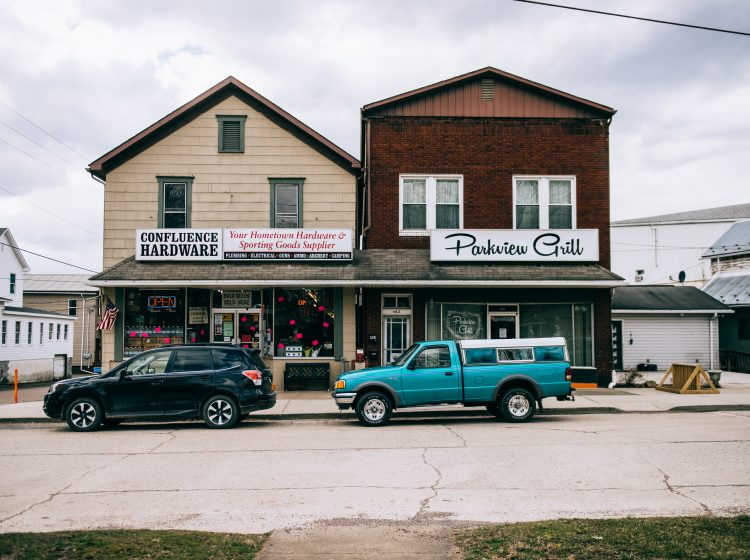 The downtown of Confluence, Pennsylvania, in Turkeyfoot School District is mainly made up of small, local businesses including a hardware store, restaurants, and numerous bed and breakfasts. (Dani Fresh/Keystone Crossroads)