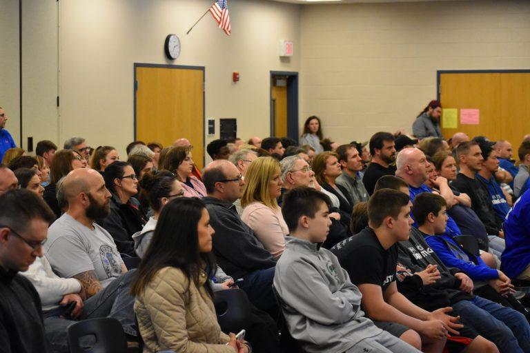 More than 200 people showed up for an Eastern Lancaster County school board meeting on April 15, 2019. (Ed Mahon/PA Post)