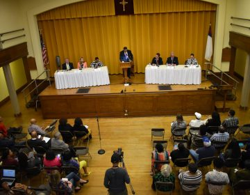 Six candidates for York County commissioner participate in a forum at on April 10, 2019, at Zion United Church of Christ in York. (Ed Mahon/PA Post)