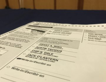 A sample ballot provided by a voting machine company hoping to win contracts with Pennsylvania counties. (PennLive)