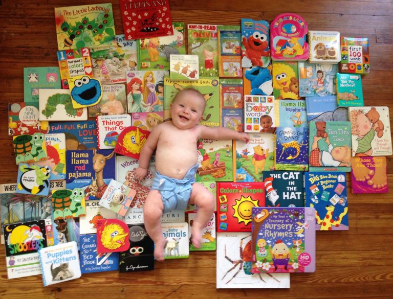 Josie Shipley received many books for her 6-month birthday. Her mother, Nicole Chaney, requested extras to donate — 60 in all — to new mothers in 2015 at the Hospital of the University of Pennsylvania, where she worked. (Courtesy of Nicole Chaney)
