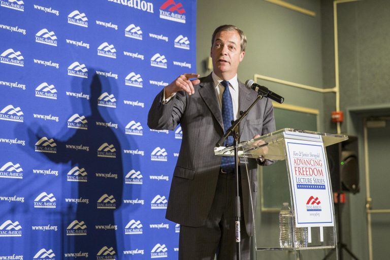 More than 200 attendees filled the seats at the Ulmer Planetarium at Lock Haven University Friday night to hear Nigel Farage, member of the European Parliament and leader of the Brexit Party, give a speech on the rise of populism. (Min Xian/WPSU)