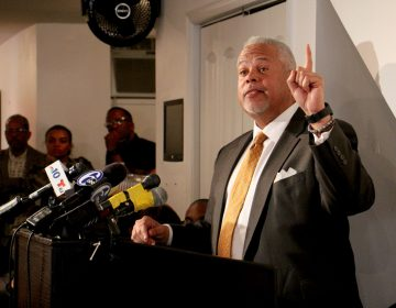 In this file photo, State Sen. Anthony Williams announces his Philadelphia mayoral bid. (Emma Lee/WHYY)