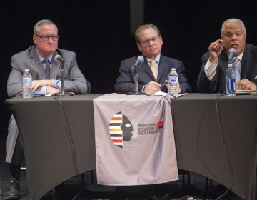 The three candidates for Philadelphia Mayor, from left Mayor James Kenney, former City Controller Alan Butkovitz, and state Senator Anthony Williams. (Jonathan Wilson for WHYY)