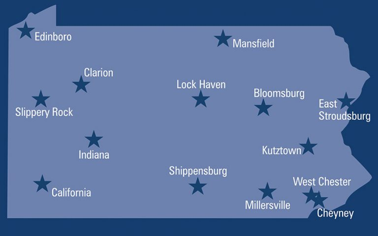 ​​​​​​​​Pennsylvania's State System of Higher Education includes 14 schools state-wide (Image via http://www.passhe.edu/)