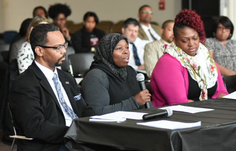 Eric Marsh, left, Shantelle Willis and Layna Smith testify during the Pennsylvania House Democratic Policy Committee hearing on bullying on Tuesday morning held at Tabor Services in Germantown. (Abdul R. Sulayman/The Philadelphia Tribune)