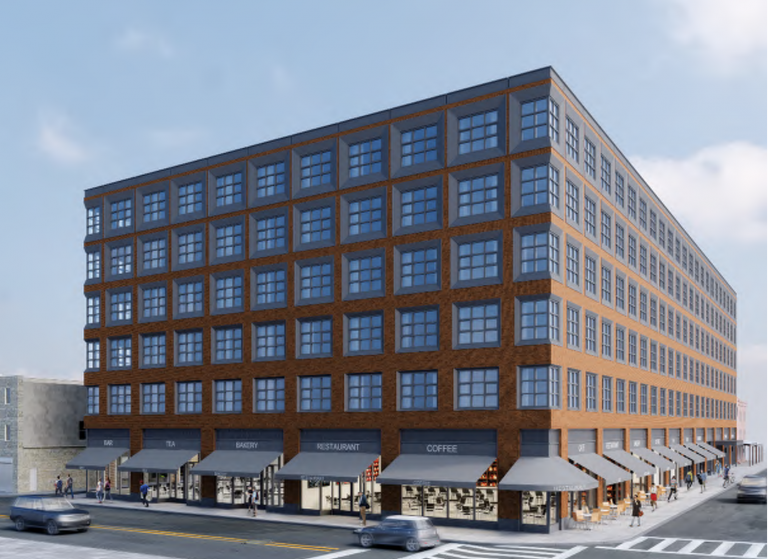A rendering of Midwood's proposed Italian Market apartment building as soon from Washington Avenue and Ninth Street looking east. (BLT Architects)