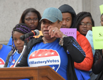 Mastery Charter Schools parent Pauline Hill tears up while discussing how her 9-year-old son was hit by a car in October. She is part of the Mastery Parent Action Team pushing for safer schools and more crossing guards in Philadelphia Neighborhoods. (Abdul R. Sulayman/The Philadelphia Tribune)
