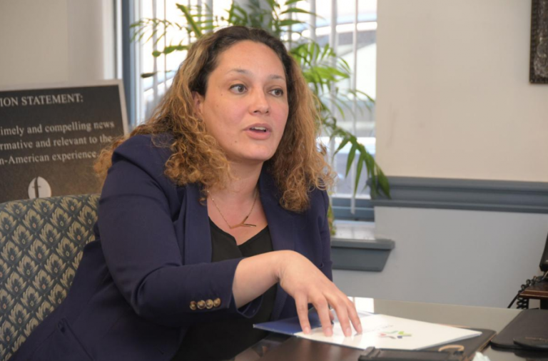 Yvette A. Núñez, vice president of civic affairs for the Chamber of Commerce for a Greater Philadelphia speaks about the PHL Neighborhood Growth Project (Abdul Sulayman/The Philadelphia Tribune)