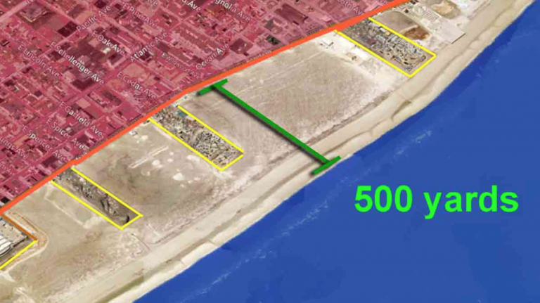 WHYY graphic showing the width of a Wildwood beach.
