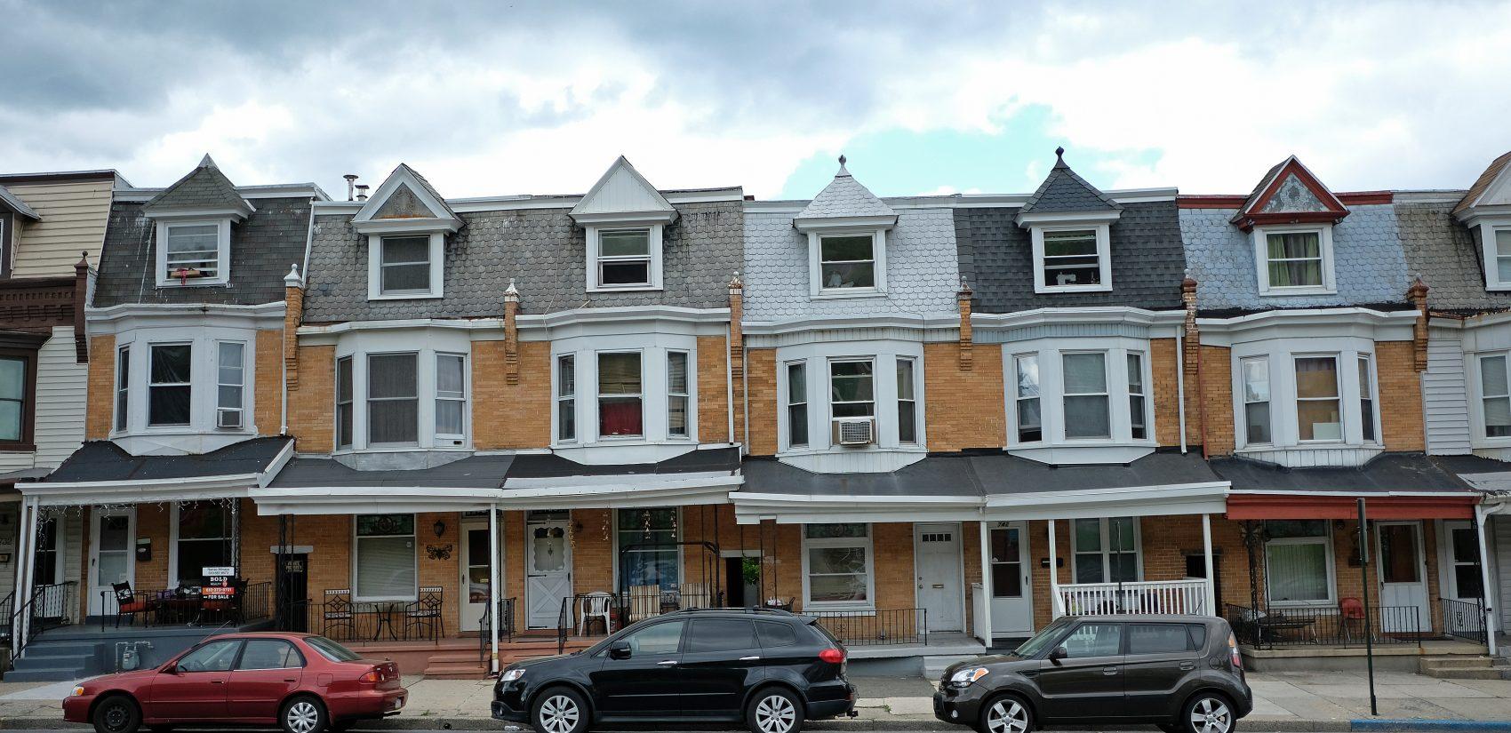 A line of row-homes in Reading, Pennsylvania. (Matt Smith for Keystone Crossroads)