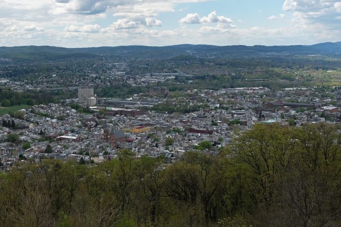 A bird's eye view of the city of Reading, Pennsylvania. (Matt Smith for Keystone Crossroads)