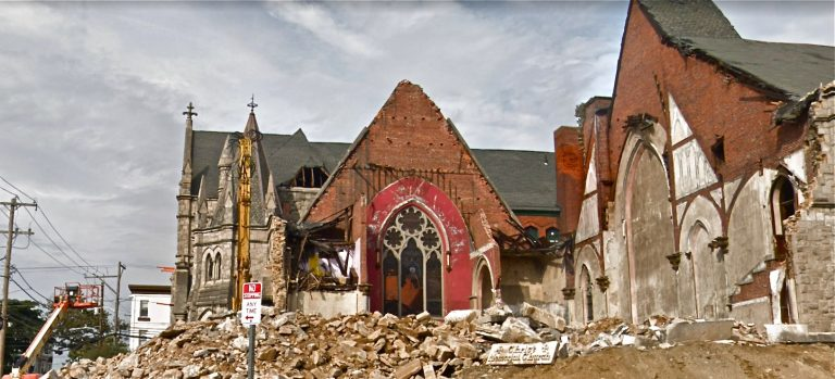 Permits have been filed to build apartments on the site of this partially demolished church. (Google Maps)