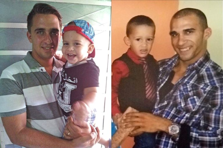 Abel Perez (left) and Pablo Alvarez (right), are pictured holding their sons. (Courtesy of Church World Service)