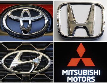 This combination of photos shows clockwise from top left the logos for Toyota, Honda, Kia, Fiat Chrysler, Mitsubishi and Hyundai. U.S. auto safety regulators have expanded an investigation into malfunctioning air bag controls to include 12.3 million vehicles because the bags may not inflate in a crash. (AP)
