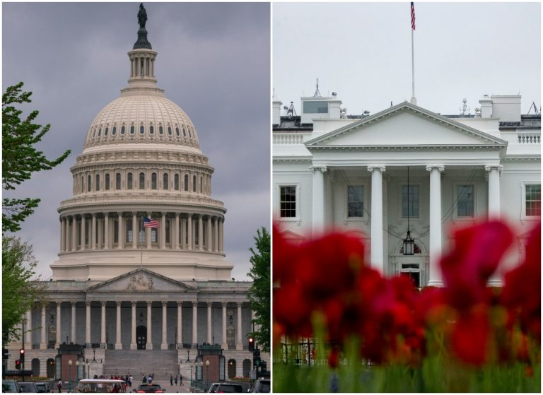 Left: Capitol Building (AP Photo/J. Scott Applewhite) Right: The White House (AP Photo/Andrew Harnik)