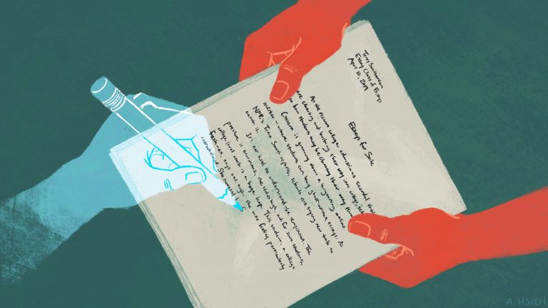 Concern is growing about a burgeoning online market for essays that students can buy and turn in as their own work. And schools are trying new tools to catch it. (Angela Hsieh/NPR)