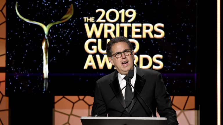 Writers Guild of America West President David Goodman speaks in Los Angeles at the 2019 union award ceremony. The WGA instructed is writers to fire their agents on Friday. (Frazer Harrison/Getty Images)