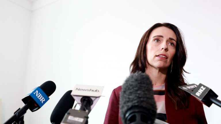 New Zealand Prime Minister Jacinda Ardern speaks to reporters at a news conference on Wednesday. She announced New Zealand and France will lead a global effort to end the use of social media as a tool to promote terrorism. (Phil Walter/Getty Images)