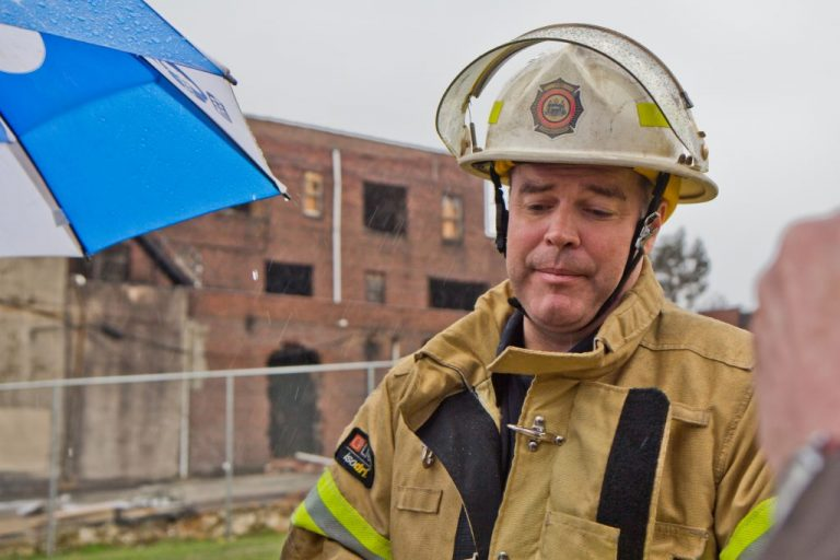 Philadelphia fire commissioner Adam Thiel at The Original Apostolic Faith Church of the Lord Jesus Christ in North Philadelphia in March of 2018, right after a fire broke out at the church. (Kimberly Paynter/WHYY)