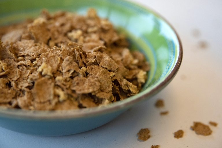 A bowl of Honey Toasted Kernza. General Mills made 6,000 boxes of the cereal and is passing them out to spread the word about perennial grains. (Olivia Sun/NPR)