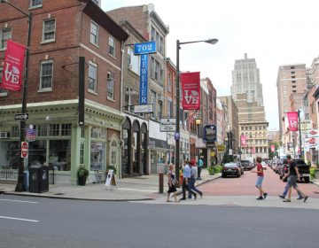 Jewelers Row, one of the oldest diamond districts in America, is threatened by a plan to construct a 29-story residential tower. (Emma Lee/WHYY)