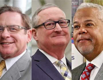 Philadelphia Mayor Jim Kenney, center, is being challenged by former City Controller Alan Butkowitz, left, and state Sen. Anthony Williams, right. (WHYY file)