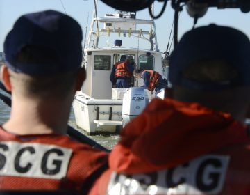 Members of Coast Guard Station Barnegat Light board a recreational fishing vessel while conducting a living marine resources patrol and vessel safety inspection on Nov. 7, 2018. (U.S. Coast Guard photo by Petty Officer 1st Class Seth Johnson)