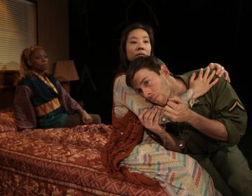 Cathy Simpson (rear left) as Jesus, Bi Jean Ngo and James Kern as daughter and father in Theatre Exile's production of