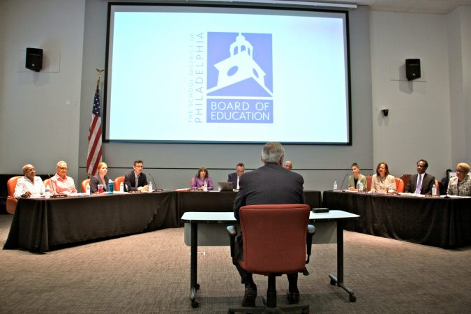 In 2018, Kenney addressed the city's new local Board of Education at its first meeting after the dissolution of the School Reform Commission. Kenney chose every member of the new board. (Emma Lee/WHYY)