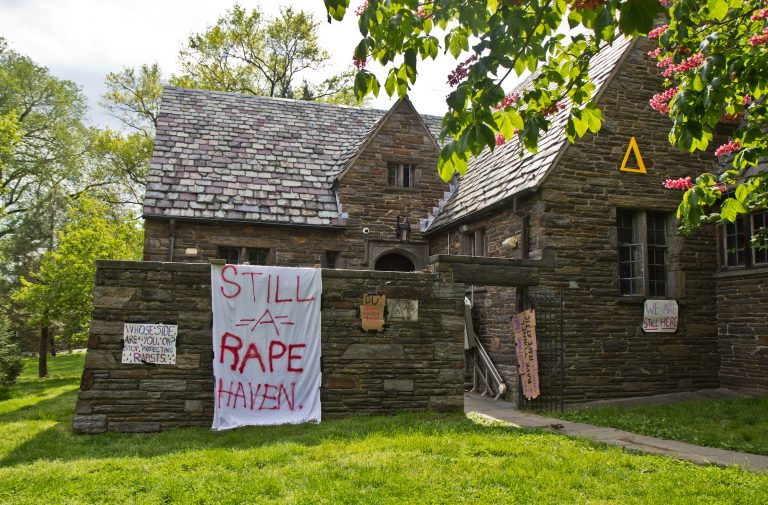 The Delta Upsilon fraternity on Swarthmore's campus. (Kimberly Paynter/WHYY)